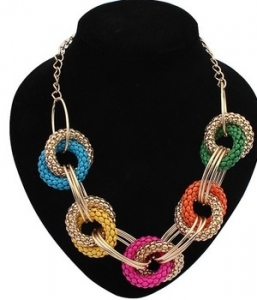 European and American Vintage Colorful Metal Exaggerated Punk Choker Necklace