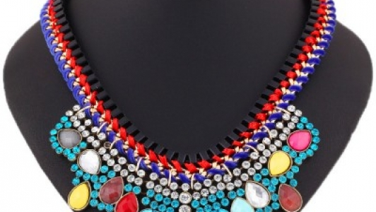 Rhinestone Weave Chain Multilayer Color Gem Choker Necklace