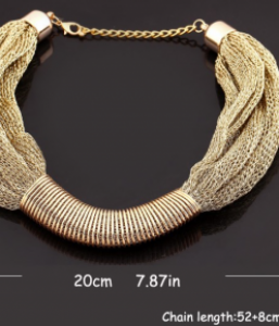 Gold Plated Singapore Chain Statement Necklace